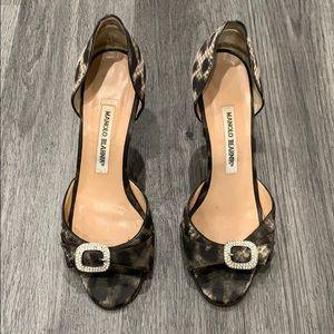 Manolo Blahnik Sparkle Animal Print Heel